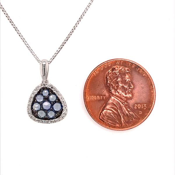 14 Karat White Gold Light Blue Sapphire and Diamond Pendant Image 3 Bluestone Jewelry Tahoe City, CA