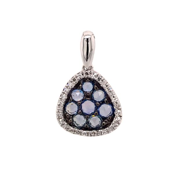 14 Karat White Gold Light Blue Sapphire and Diamond Pendant Bluestone Jewelry Tahoe City, CA