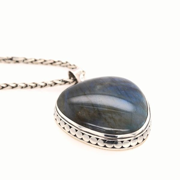 Sterling Silver Pendant with Large Heart-Like Shaped Labradorite and Chain Image 2 Bluestone Jewelry Tahoe City, CA