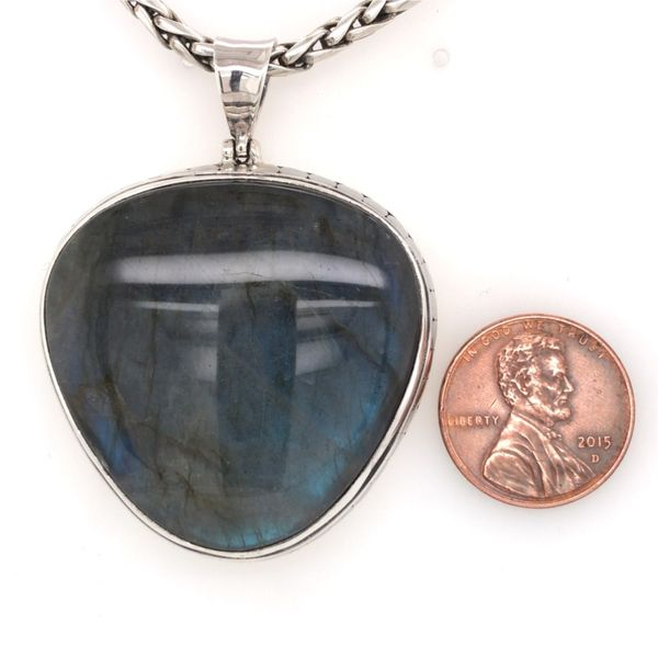 Sterling Silver Pendant with Large Heart-Like Shaped Labradorite and Chain Image 3 Bluestone Jewelry Tahoe City, CA