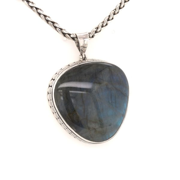 Sterling Silver Pendant with Large Heart-Like Shaped Labradorite and Chain Bluestone Jewelry Tahoe City, CA