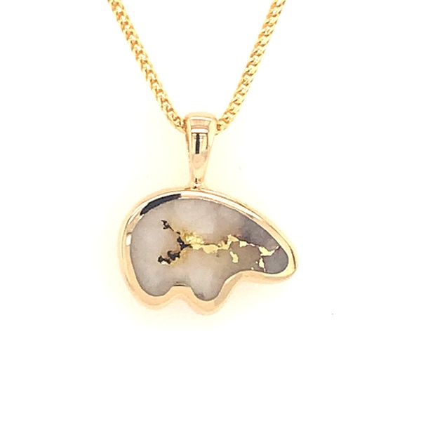14K Yellow Gold Medium Bear Pendant w/ Gold Quartz Bluestone Jewelry Tahoe City, CA