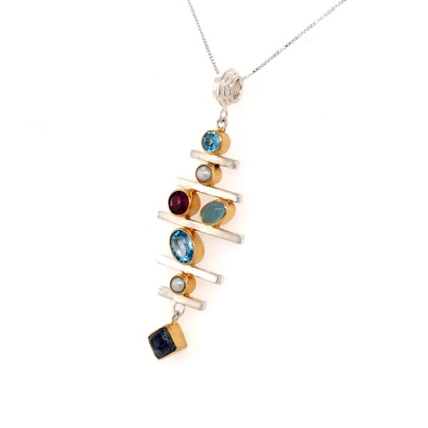 Sterling Silver and 22 Karat YG Pendant with Topaz, Pearl, Rhodolite Garnet, Blue Agate and Moonstone Image 2 Bluestone Jewelry Tahoe City, CA