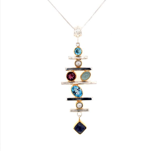 Sterling Silver and 22 Karat YG Pendant with Topaz, Pearl, Rhodolite Garnet, Blue Agate and Moonstone Bluestone Jewelry Tahoe City, CA