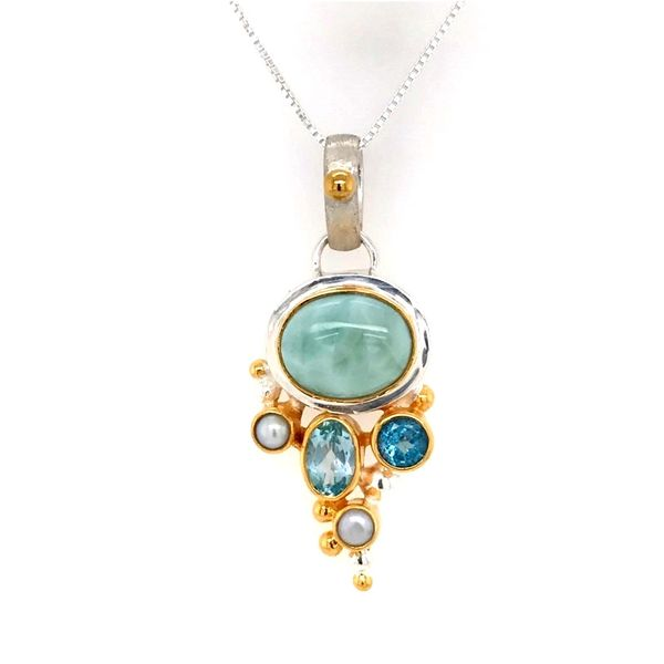 Sterling Silver & 22 Karat YG Pendant with Larimar, Topaz & Pearls Bluestone Jewelry Tahoe City, CA