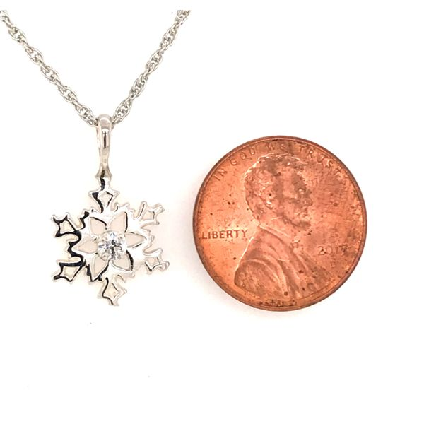 Sterling Silver Snowflake Pendant with One Round Cubic Zirconium Image 2 Bluestone Jewelry Tahoe City, CA
