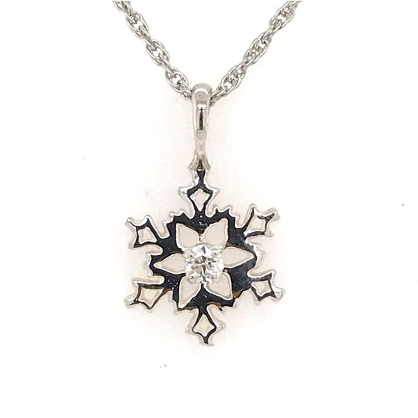 Sterling Silver Snowflake Pendant with One Round Cubic Zirconium Bluestone Jewelry Tahoe City, CA