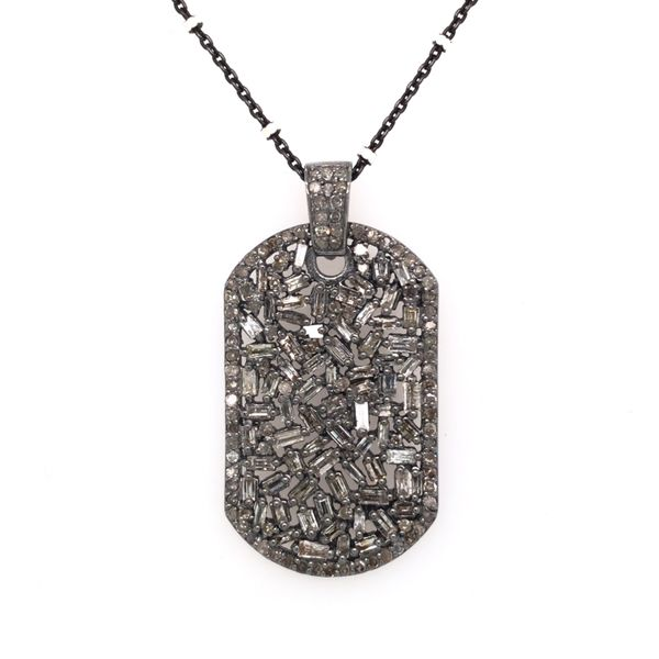 Sterling Silver Diamond Dog Tag Pendant with Chain Image 2 Bluestone Jewelry Tahoe City, CA