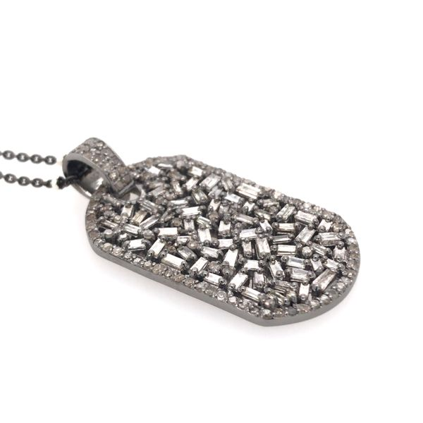 Sterling Silver Diamond Dog Tag Pendant with Chain Image 3 Bluestone Jewelry Tahoe City, CA