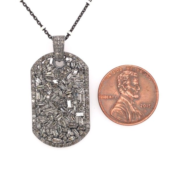 Sterling Silver Diamond Dog Tag Pendant with Chain Image 4 Bluestone Jewelry Tahoe City, CA