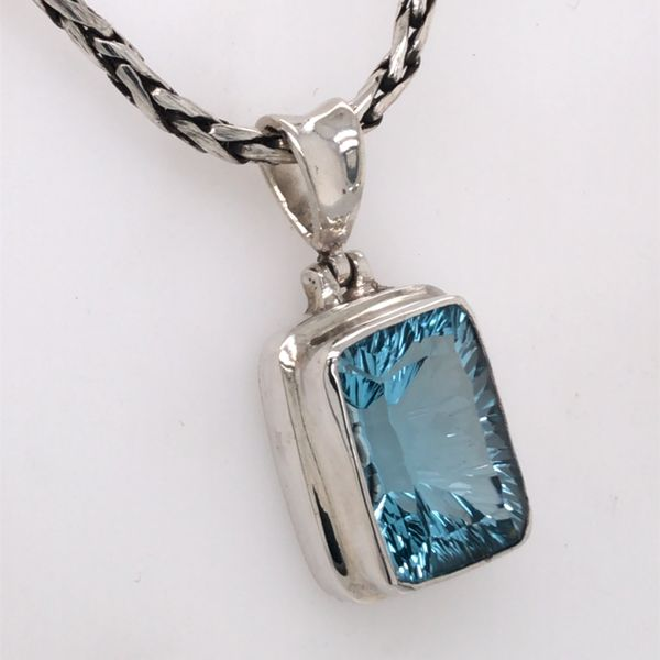 Medium Sterling Silver Topaz Pendant with Chain Image 2 Bluestone Jewelry Tahoe City, CA