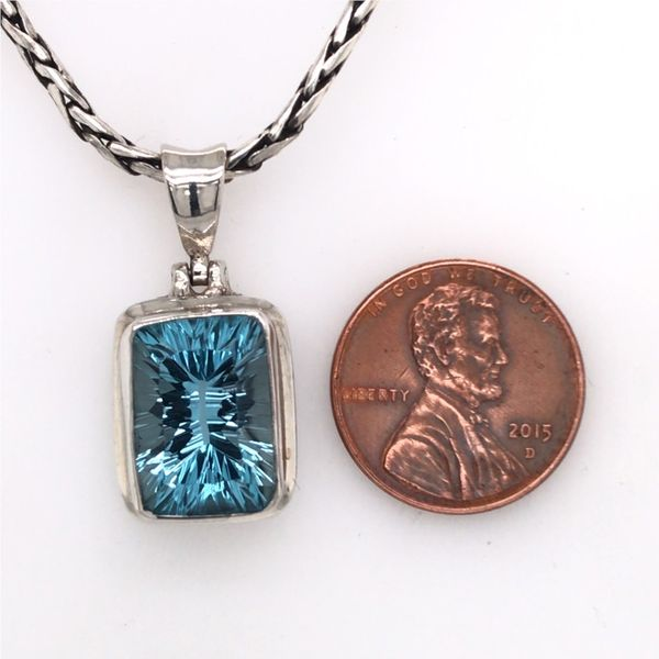 Medium Sterling Silver Topaz Pendant with Chain Image 3 Bluestone Jewelry Tahoe City, CA