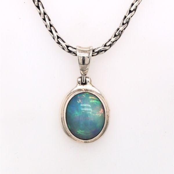Medium Silver Ethiopian Opal Pendant on a Handwoven Chain Image 2 Bluestone Jewelry Tahoe City, CA