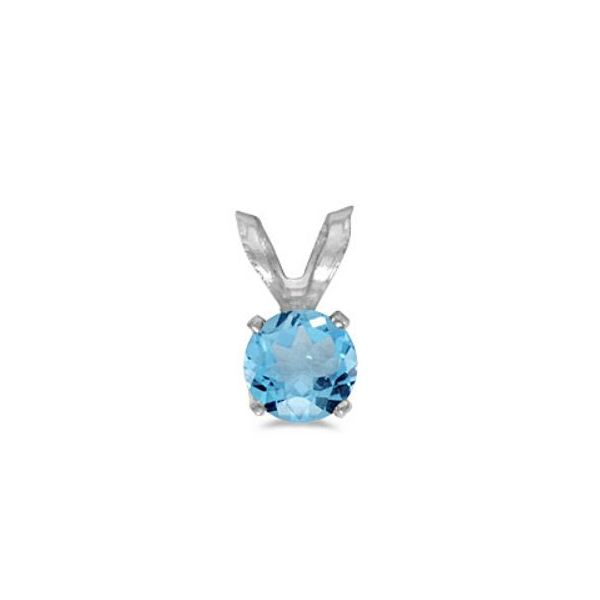 14 Karat White Gold Pendant with One 5mm Round Blue Topaz Bluestone Jewelry Tahoe City, CA