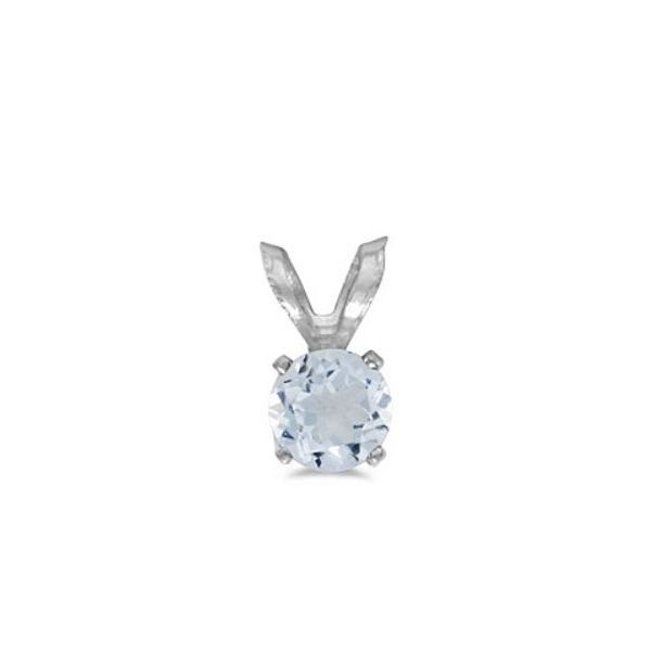 14 Karat White Gold 5mm Round Aquamarine Pendant Bluestone Jewelry Tahoe City, CA