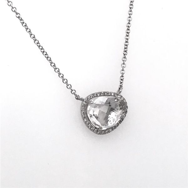 14 Karat White Gold Necklace with a 2.33 Carat White Topaz and Diamonds Image 2 Bluestone Jewelry Tahoe City, CA
