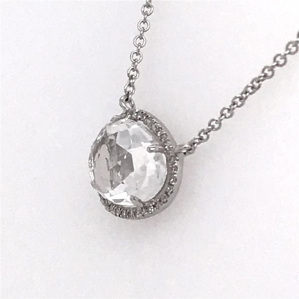 14 Karat White Gold Necklace with a 2.33 Carat White Topaz and Diamonds Image 3 Bluestone Jewelry Tahoe City, CA