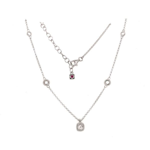 Sterling Silver Necklace with Cubic Zirconias and Ruby Bluestone Jewelry Tahoe City, CA
