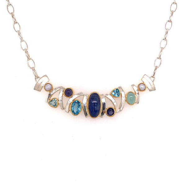 Sterling Silver & 22 Karat Yellow Gold Necklace with Moonstone, 3 Blue Topaz, Iolites, Agate, and Pearls Bluestone Jewelry Tahoe City, CA