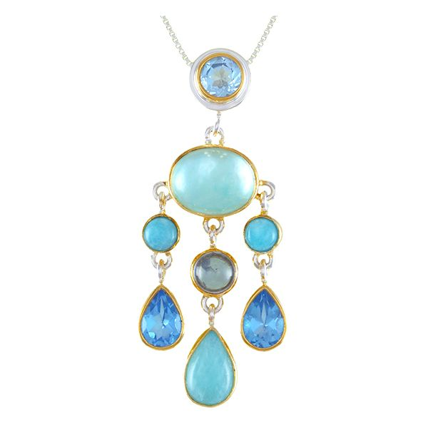 Silver & 22 Karat Yellow Gold Necklace with Mother of Pearl, Topaz and Amazonite Bluestone Jewelry Tahoe City, CA