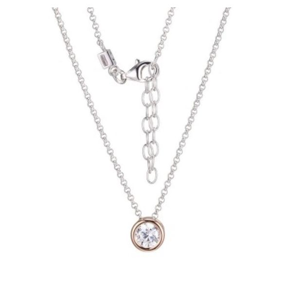 Sterling Silver and Rose Gold Cubic Zirconia Necklace with Ruby Bluestone Jewelry Tahoe City, CA