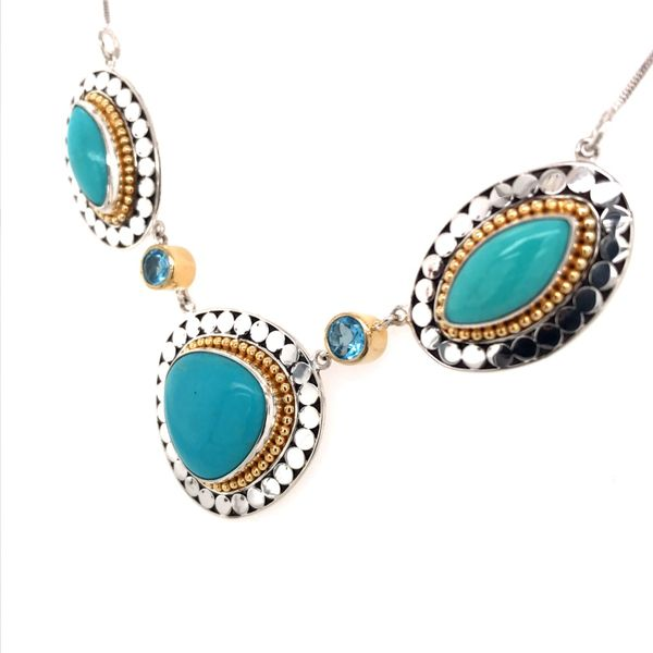 Silver & 22K Yellow Gold Necklace w/ Turquoise & Topaz Image 2 Bluestone Jewelry Tahoe City, CA