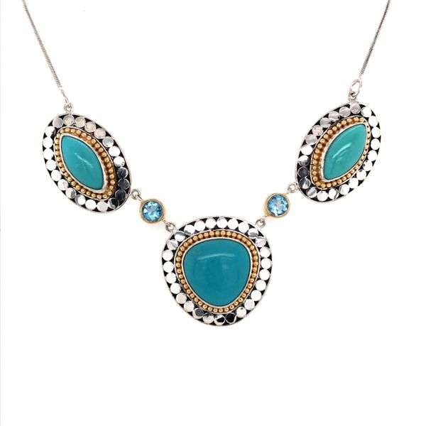 Silver & 22K Yellow Gold Necklace w/ Turquoise & Topaz Bluestone Jewelry Tahoe City, CA
