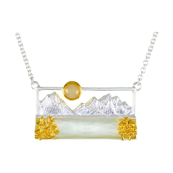 Silver & 22 Karat Yellow Gold Necklace with Mother of Pearl and Ethiopian Opal Bluestone Jewelry Tahoe City, CA