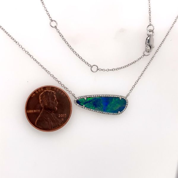 14K White Gold Necklace w/ Black Australian Opal & Diamonds Image 3 Bluestone Jewelry Tahoe City, CA
