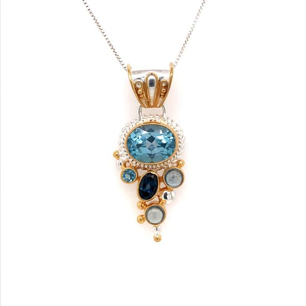 Silver and 22 Karat Yellow Gold Vermeil Pendant with Topaz- 18