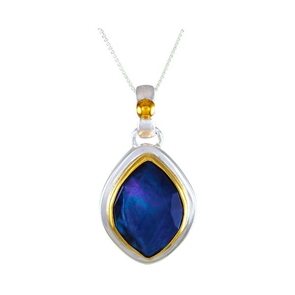 Silver and 22 Karat Yellow Gold Vermeil Necklace with Mother of Pearl Bluestone Jewelry Tahoe City, CA