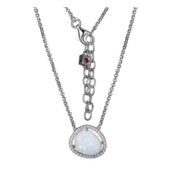 Sterling Silver Opal and CZ Necklace with Ruby Bluestone Jewelry Tahoe City, CA