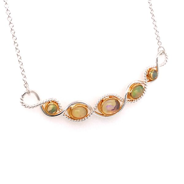 Silver and 22 Karat Yellow Gold Necklace with Ethiopian Opals Image 2 Bluestone Jewelry Tahoe City, CA