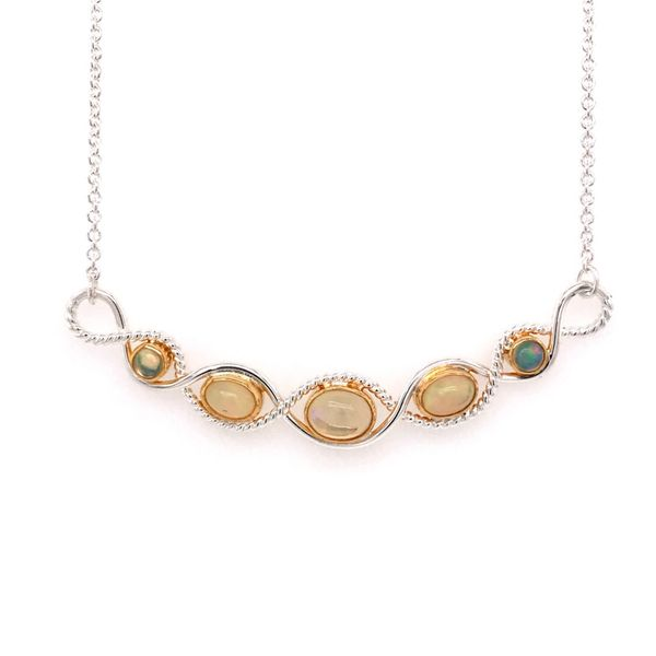 Silver and 22 Karat Yellow Gold Necklace with Ethiopian Opals Bluestone Jewelry Tahoe City, CA