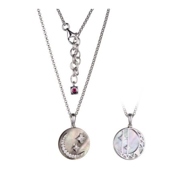Sterling Silver Rhodium Necklace with Mother of Pearl, Cubic Zirconias and Once Round Created Ruby Bluestone Jewelry Tahoe City, CA