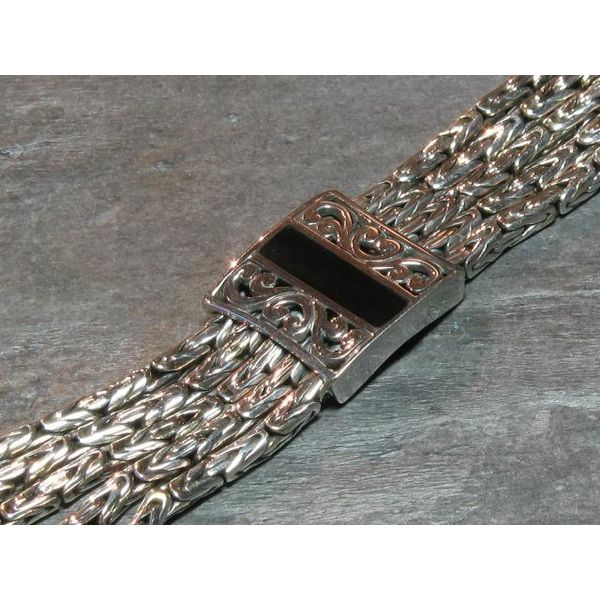 Silver Five-Strand Woven Bracelet with Mother of Pearl- 7.5 Inches Bluestone Jewelry Tahoe City, CA