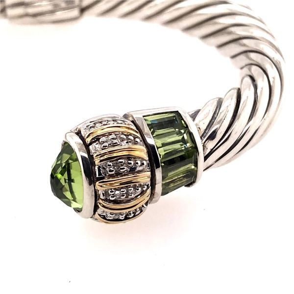 Silver & Gold Cable Bracelet with Peridots and Diamonds Image 2 Bluestone Jewelry Tahoe City, CA
