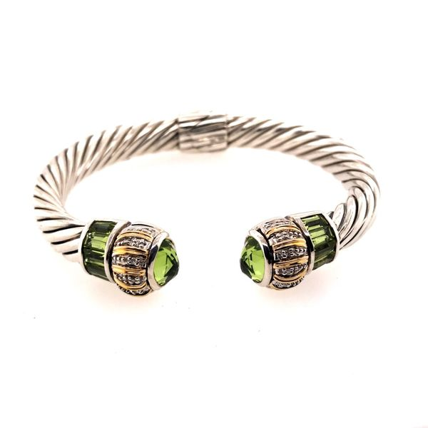 Silver & Gold Cable Bracelet with Peridots and Diamonds Bluestone Jewelry Tahoe City, CA