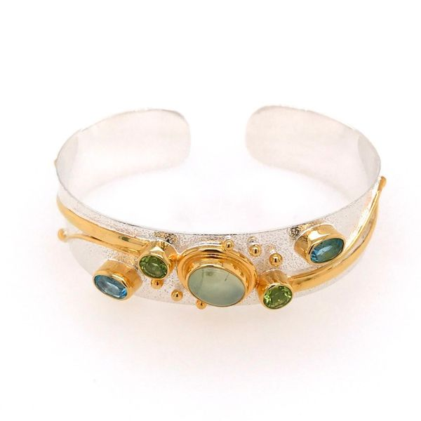 Sterling Silver and 22 Karat YG Cuff Bracelet with Prehnite, Peridots and Topazs Bluestone Jewelry Tahoe City, CA
