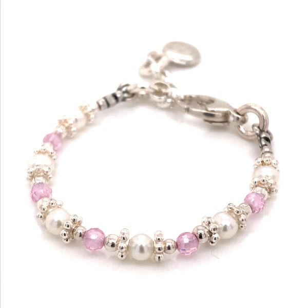 Baby Sterling Silver Pink CZ and Pearl Adustable Bracelet 4-5