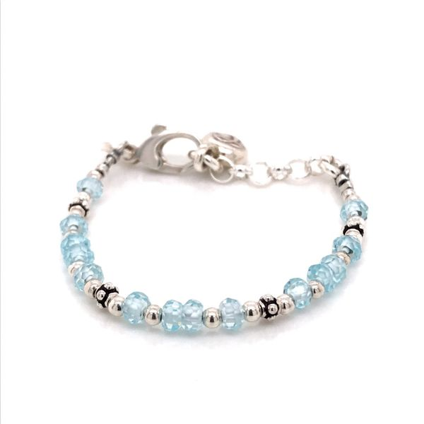 Baby Sterling Silver Blue CZ and Pearl Adustable Bracelet 4-5