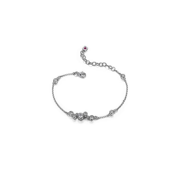 Sterling Silver with Rhodium Plating Bracelet with Cubic Zirconias and Ruby Image 2 Bluestone Jewelry Tahoe City, CA