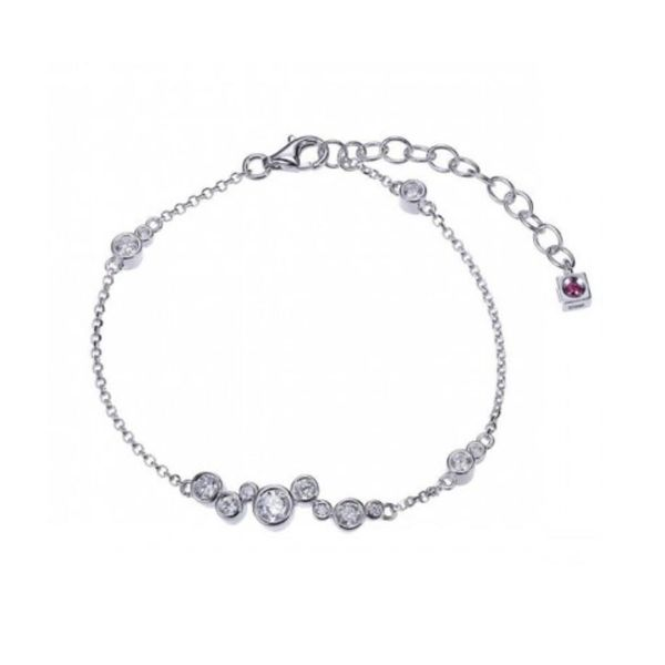 Sterling Silver with Rhodium Plating Bracelet with Cubic Zirconias and Ruby Bluestone Jewelry Tahoe City, CA