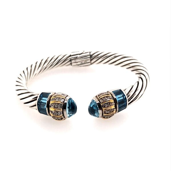 Silver & Gold Bangle Bracelet with White Diamonds and Blue Topazes Bluestone Jewelry Tahoe City, CA