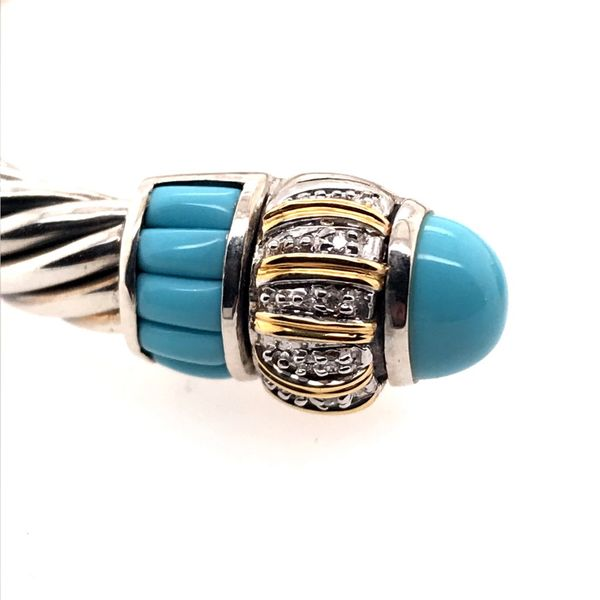 Silver & Gold Cable Bracelet with Turquoise and Diamonds Image 2 Bluestone Jewelry Tahoe City, CA