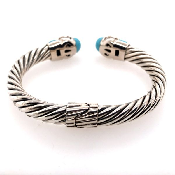 Silver & Gold Cable Bracelet with Turquoise and Diamonds Image 3 Bluestone Jewelry Tahoe City, CA
