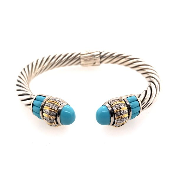 Silver & Gold Cable Bracelet with Turquoise and Diamonds Bluestone Jewelry Tahoe City, CA