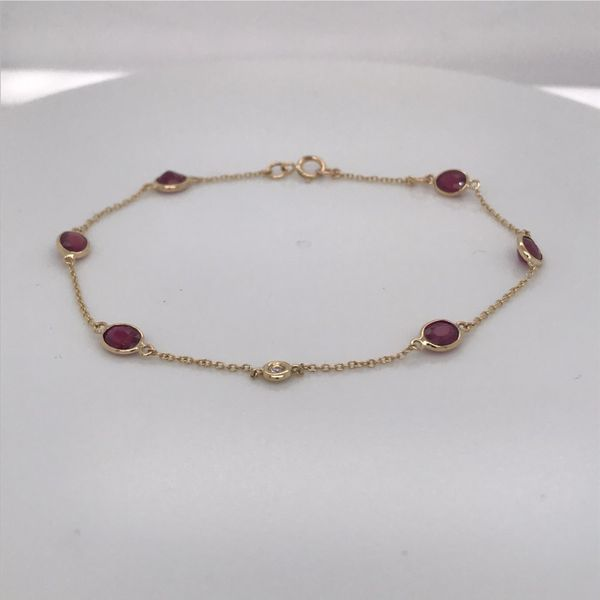18K Yellow Gold Elegant Link Bracelet w/ Rubies & Diamond Image 2 Bluestone Jewelry Tahoe City, CA