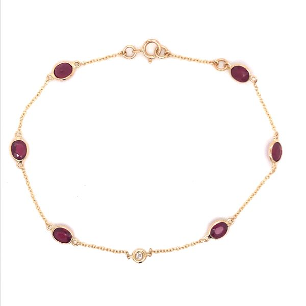 18K Yellow Gold Elegant Link Bracelet w/ Rubies & Diamond Bluestone Jewelry Tahoe City, CA