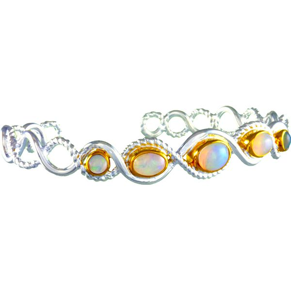 Silver and 22 Karat Yellow Gold Bracelet with Ethiopian Opals Bluestone Jewelry Tahoe City, CA